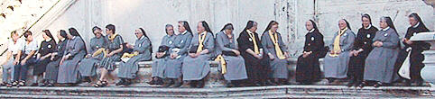 Flock of Nuns sitting on Capitol Hill